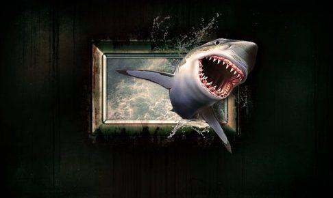 サメが額縁から飛び出してる