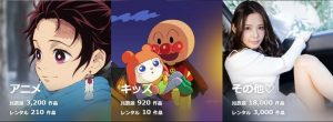 U-NEXT-アニメとその他本数イメージ